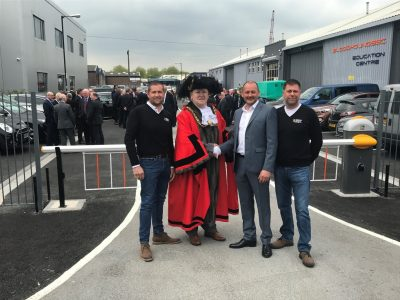 Picture of Julian Hemmens (MD, JH Group), The Right Honourable Lord Mayor of Bristol Cllr Jeff Lovell, Martin Kenniston (Project Manager, S&B Property Ltd) and Paul Sheppard (JH Group).